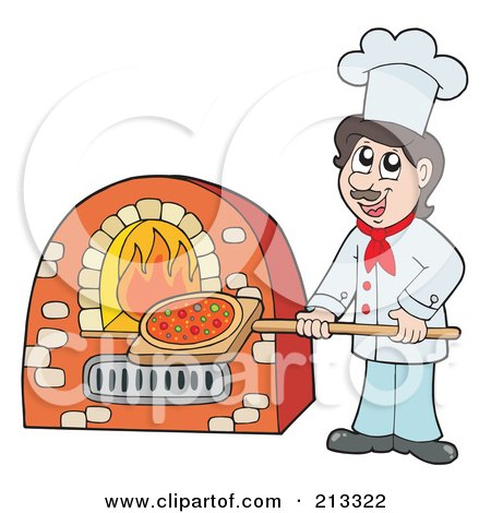 Royalty-Free (RF) Clipart Illustration of a Male Chef Putting Pizza In An Oven by visekart