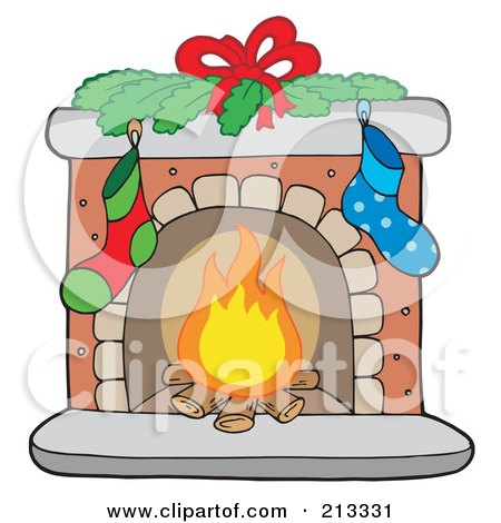 Royalty-Free (RF) Clipart Illustration of Logs Burning In A Christmas Fireplace by visekart