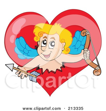 Royalty-Free (RF) Clipart Illustration of a Blond Eros Cupid Breaking Through A Heart by visekart