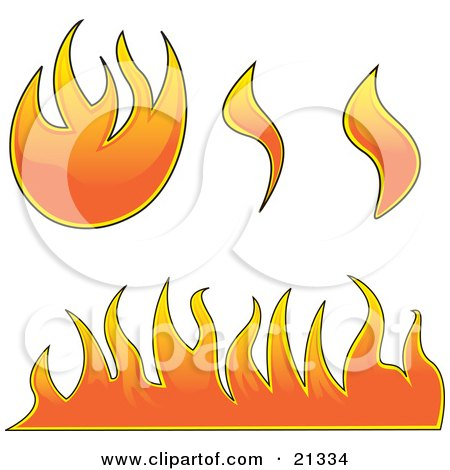 Clipart Illustration of a Collection Of Fires, Flames And Fireballs Over White by Paulo Resende