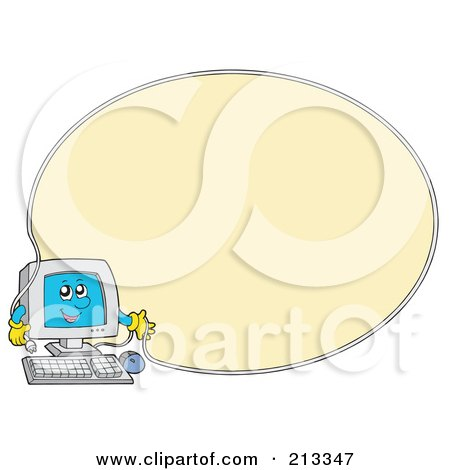 Royalty-Free (RF) Clipart Illustration of a PC Character With An Oval Cable Border Around Yellow by visekart