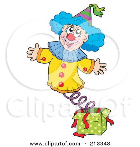 Royalty-Free (RF) Clipart Illustration of a Happy Clown Popping Out Of A Jack In The Box by visekart