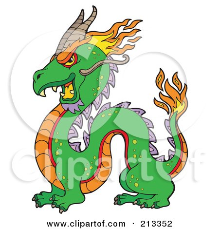 Royalty-Free (RF) Clipart Illustration of a Green Chinese Dragon With Flames by visekart