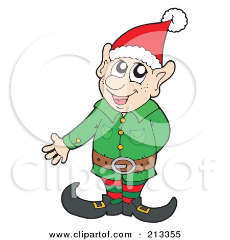 Royalty-Free (RF) Clipart Illustration of a Friendly Christmas Elf Presenting by visekart