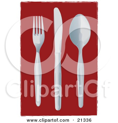 Clipart Illustration of a Fork, Knife And Spoon Laid Out On A Table by Paulo Resende