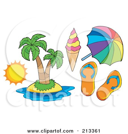 Royalty-Free (RF) Clipart Illustration of a Digital Collage Of A Tropical Island And Travel Items by visekart