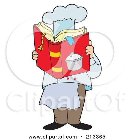 Royalty-Free (RF) Clipart Illustration of a Male Chef Reading A Cook Book by visekart