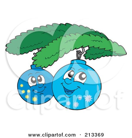 Royalty-Free (RF) Clipart Illustration of Two Happy Christmas Ornaments by visekart