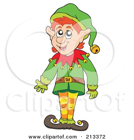 Royalty-Free (RF) Clipart Illustration of a Friendly Christmas Elf Gesturing by visekart