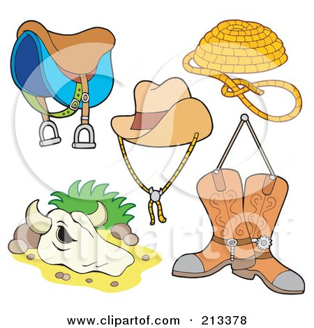 Royalty-Free (RF) Clipart Illustration of a Digital Collage Of Western Items by visekart