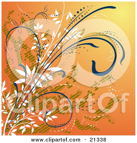 Clipart Illustration of an Orange Background With White, Green And Blue Curling Plants by Paulo Resende