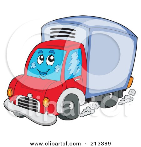 Royalty-Free (RF) Clipart Illustration of a Happy Driving Delivery Van by visekart