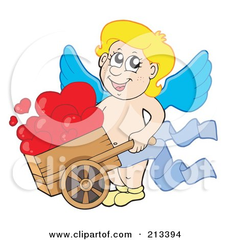 Royalty-Free (RF) Clipart Illustration of a Blond Eros Cupid Pushing Hearts In A Wheelbarrow by visekart