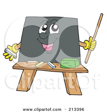Royalty-Free (RF) Clipart Illustration of a Happy Blackboard Holding A Pointer Stick by visekart