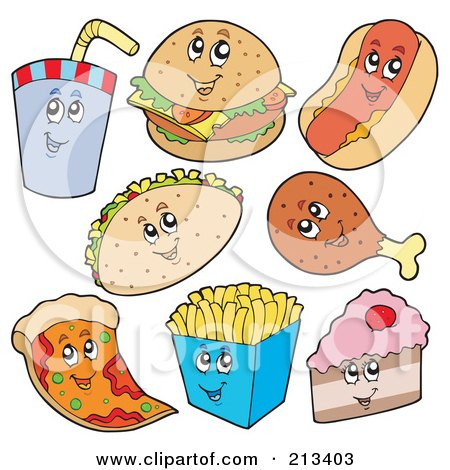 Royalty-Free (RF) Clipart Illustration of a Digital Collage Of Fast Food Characters by visekart