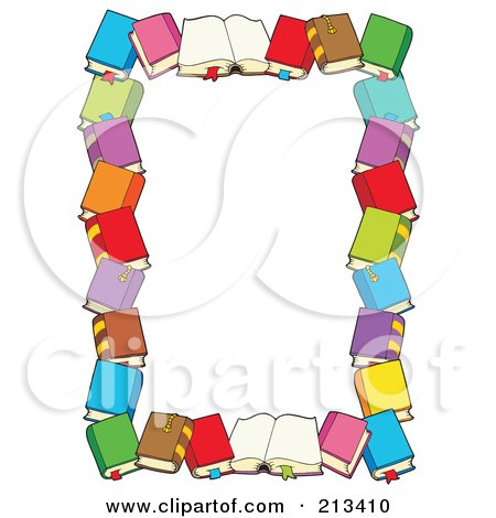 Royalty-Free (RF) Clipart Illustration of a Border Of Text Books Around White Space by visekart