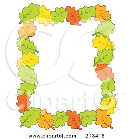 Royalty-Free (RF) Clipart Illustration of a Border Of Autumn Leaves Around White Space by visekart