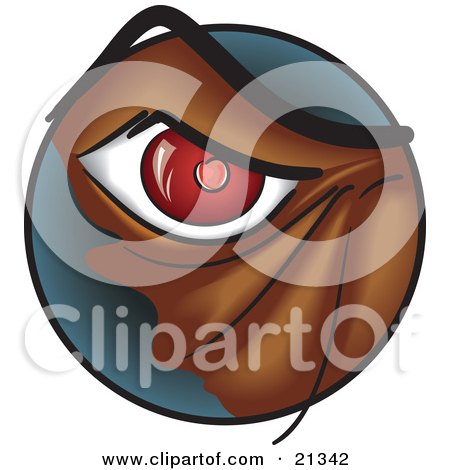 Clipart Illustration of a Closeup Of A Red Eye Of An Angry Monster Or Dog by Paulo Resende
