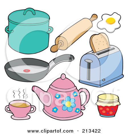 Royalty Free Rf Clipart Illustration Of A Digital Collage Of Kitchen Items 1 By Visekart 213422