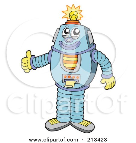 Royalty-Free (RF) Clipart Illustration of a Friendly Robot Holding A Thumb Up, A Light Shining On His Head by visekart