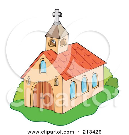 Royalty-Free (RF) Clipart Illustration of a European Styled Church With A Bell Tower by visekart