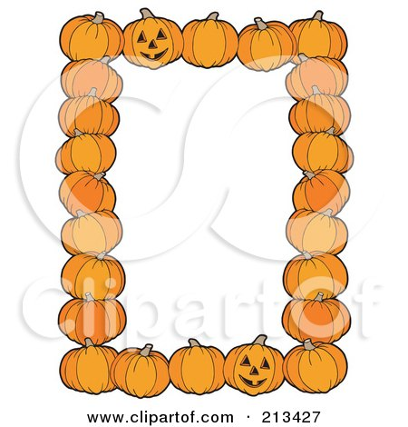 Royalty-Free (RF) Clipart Illustration of a Border Of Halloween Pumpkins And Jackolanterns Around White Space by visekart