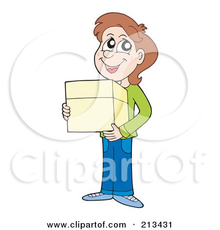 Royalty-Free (RF) Clipart Illustration of a Brunette Boy Carrying A Parcel by visekart