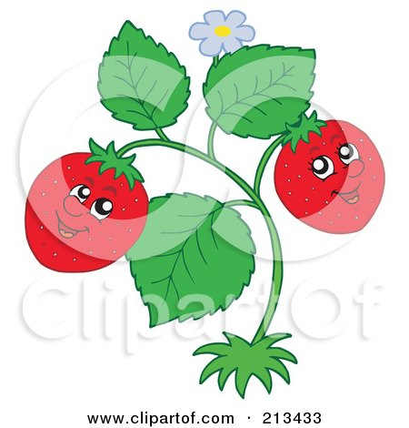 Royalty-Free (RF) Clipart Illustration of a Happy Strawberry Couple On The Plant by visekart