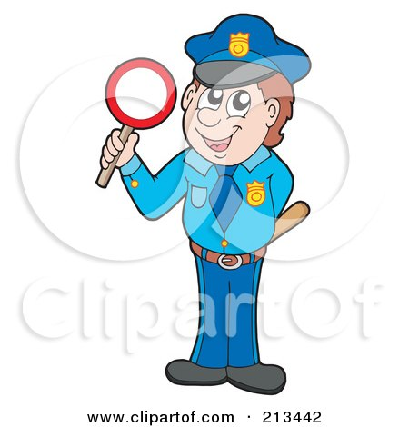Royalty-Free (RF) Clipart Illustration of a Male Police Officer With A Stop Sign by visekart