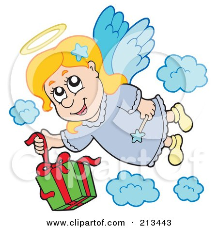 Royalty-Free (RF) Clipart Illustration of an Angel Girl Dropping A Gift From Heaven by visekart