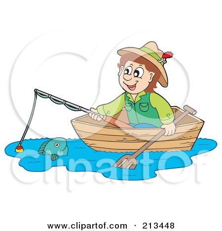 Royalty-Free (RF) Clipart Illustration of a Happy Man Looking At A Fish From A Boat by visekart