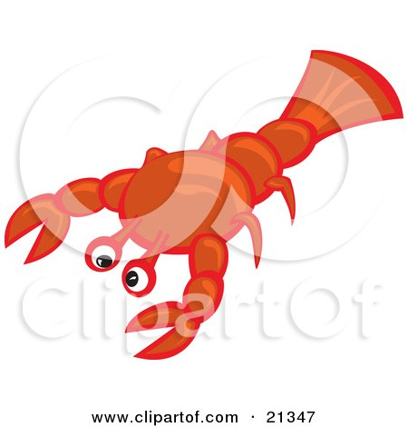Clipart Illustration of a Sad Little Lobster, Awaiting His Fait Of Becoming Someone's Seafood Meal by Paulo Resende