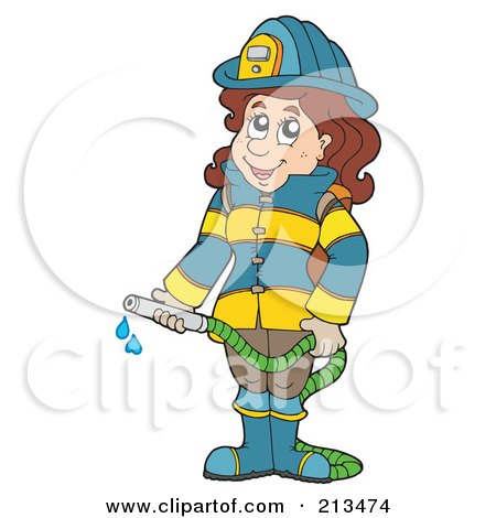 Royalty-Free (RF) Clipart Illustration of a Fire Woman Holding A Hose by visekart