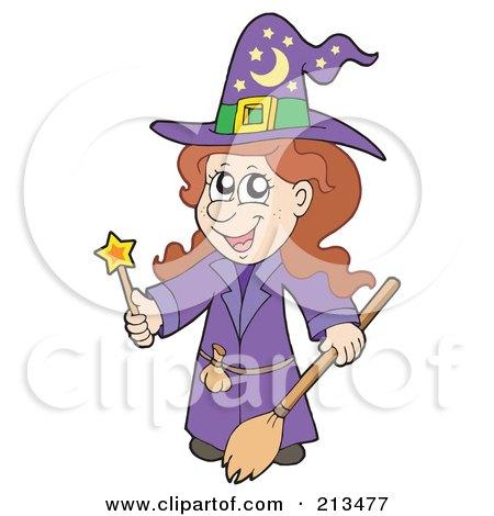 Royalty-Free (RF) Clipart Illustration of a Cute Halloween Female Wizard In Purple, Holding A Wand And Broom by visekart