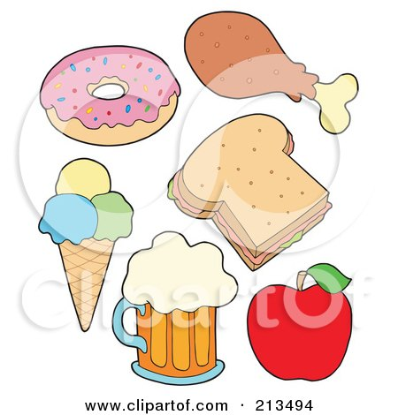 Royalty-Free (RF) Clipart Illustration of a Digital Collage Of Food Items - 2 by visekart