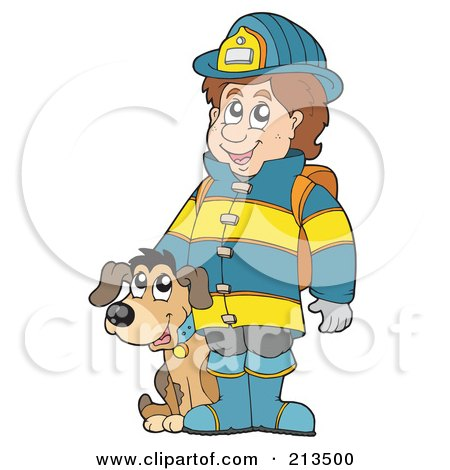 Royalty-Free (RF) Clipart Illustration of a Fireman With A Dog by visekart