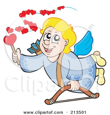 Royalty-Free (RF) Clipart Illustration of a Blond Eros Cupid Using A Wand To Spread Love by visekart