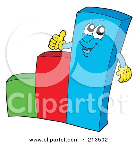 Royalty-Free (RF) Clipart Illustration of a Happy Bar Graph Character Holding A Thumb Up by visekart