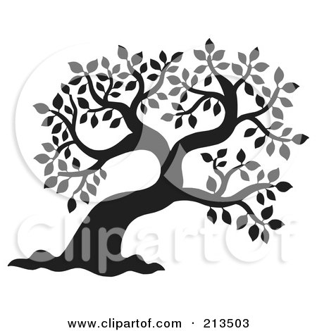 Royalty-Free (RF) Clipart Illustration of a Black And White Silhouetted Leafy Tree Design - 1 by visekart