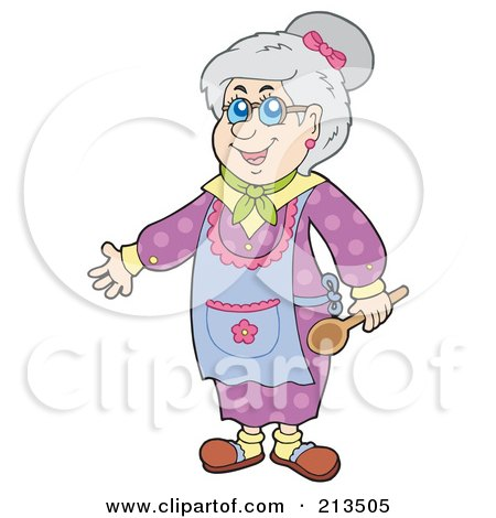 Cartoon Of A Happy Blond Woman Baking Christmas Cookies
