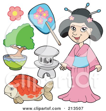 Royalty-Free (RF) Clipart Illustration of a Digital Collage Of A Japanese Woman And Items by visekart