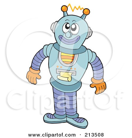 Royalty-Free (RF) Clipart Illustration of a Happy Robot Printing A Document by visekart