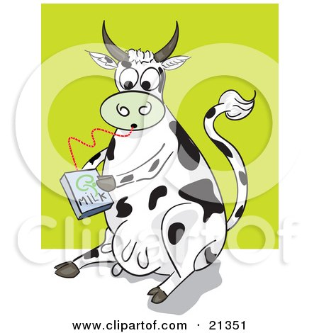 Clipart Illustration of a Thirsty Dairy Cow Drinking Milk From A Carton Through A Straw by Paulo Resende