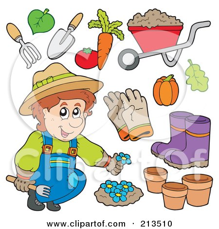 Royalty-Free (RF) Clipart Illustration of a Digital Collage Of A Gardener With Plants And Tools by visekart
