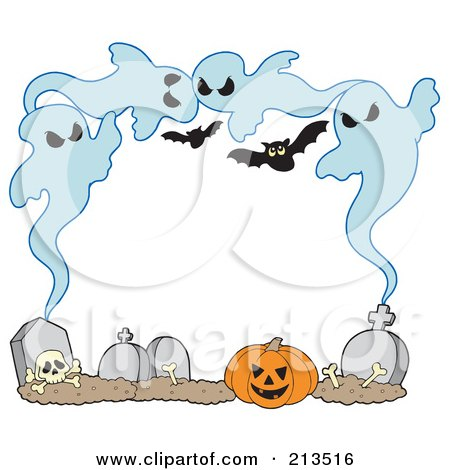 Royalty-Free (RF) Clipart Illustration of a Frame Of Ghosts, Bones, Tombstones And Pumpkins Around White Space by visekart