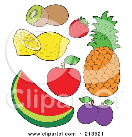 Royalty-Free (RF) Clipart Illustration of a Digital Collage Of Fruit - 1 by visekart