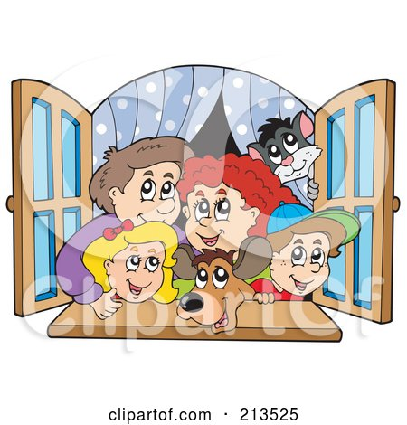 Royalty-Free (RF) Clipart Illustration of a Happy Family Looking Out A Window by visekart