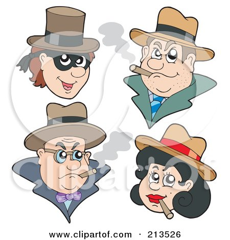 royalty free clipart illustration digital collage gangsters. jpg.