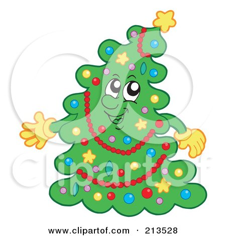 Royalty-Free (RF) Clipart Illustration of a Happy Trimmed Christmas Tree by visekart