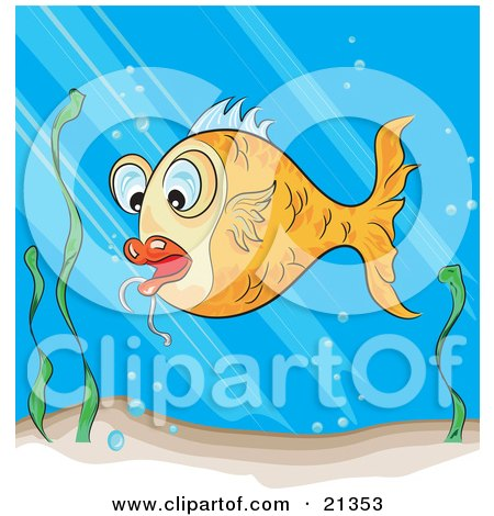 Clipart Illustration of a Surprised Orange Koi Fish Swimming Near Seaweed In A Pond by Paulo Resende